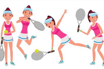 Tennis Player Female Illustration Pack