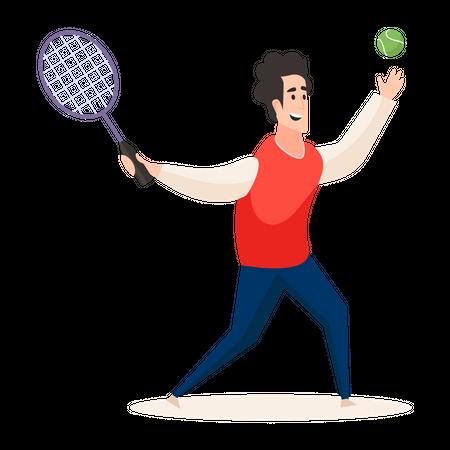 Professional tennis player playing tennis Illustration