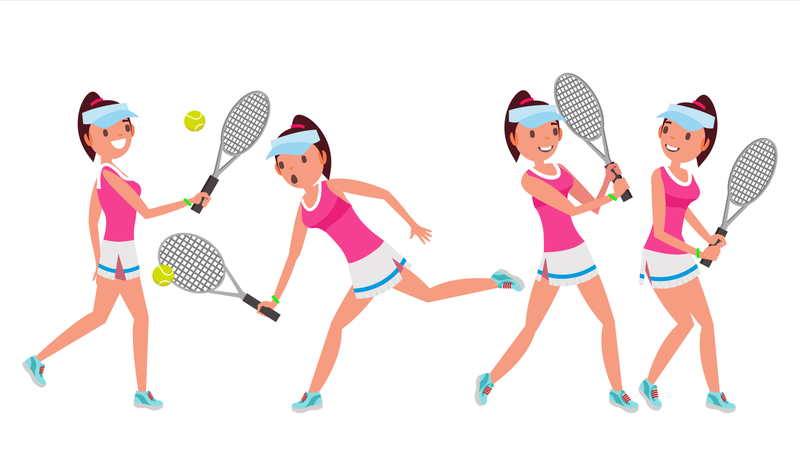 Professional Tennis Player With Different Pose Illustration
