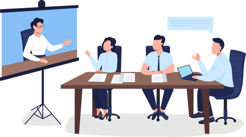 Professionals on business meeting Illustration