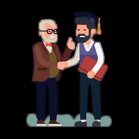 Professor congratulates student with graduation Illustration