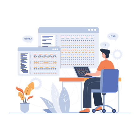 Programmer working on website development Illustration