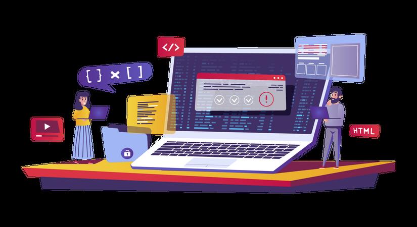 Programming and coding Illustration