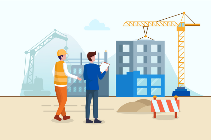 Progress of building construction with contractor Illustration