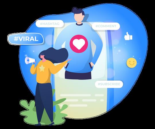 Promoting profile on social media Illustration