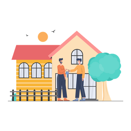 Property Dealer and Client seeing a house for sale Illustration