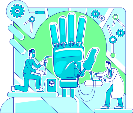 Prosthetics lab workers manufacturing hand Illustration