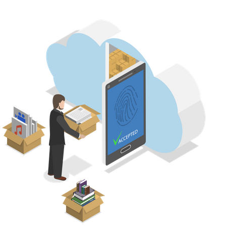 Protected cloud storage Illustration
