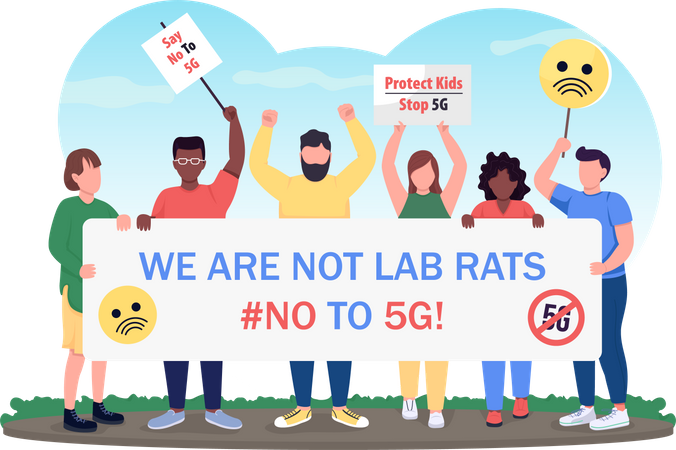 Protest against 5G Illustration