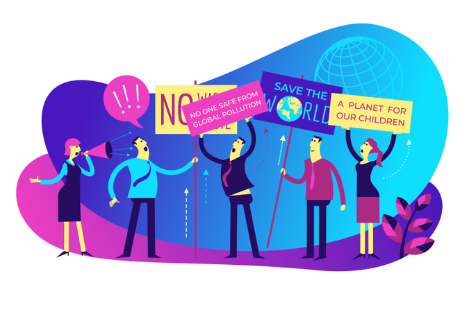 Protest of save the world Illustration