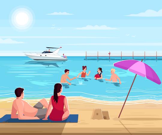 Public beach Illustration