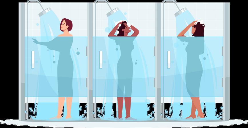 Public female shower Illustration