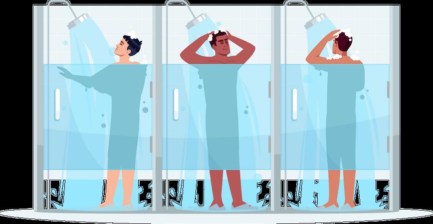 Public male shower Illustration