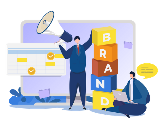 Public relations and brand marketing team Illustration
