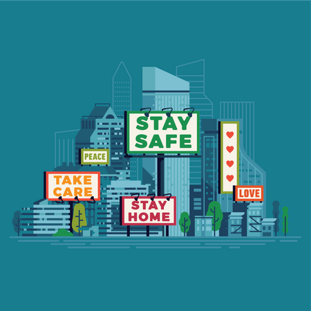 Public safety and support messages shown on billboards and banners Illustration