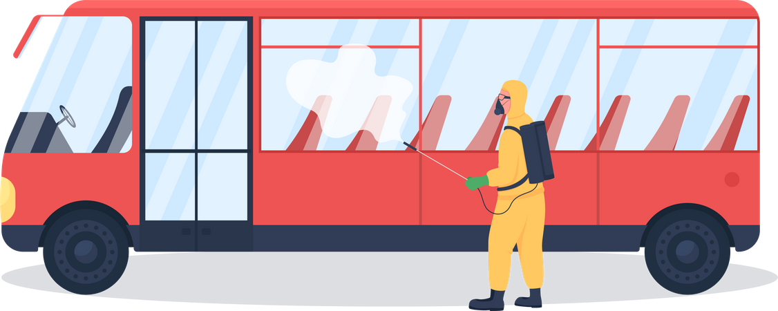 Public transport disinfection from virus Illustration