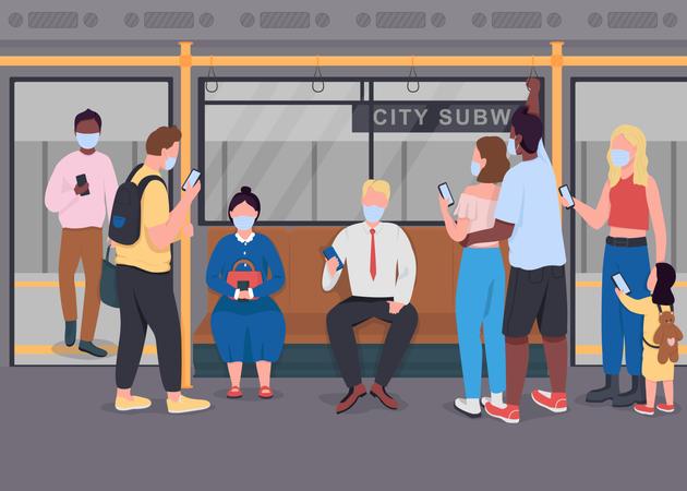 Public transport during epidemic Illustration