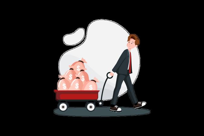 Pulling business investment Illustration