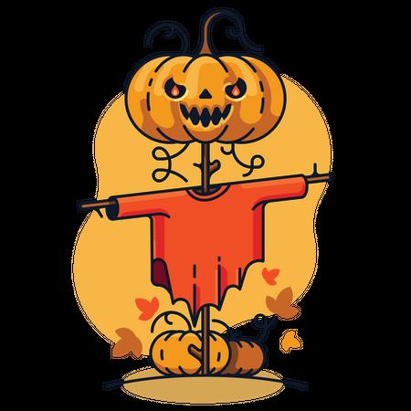 Pumpkin Scarecrow Illustration