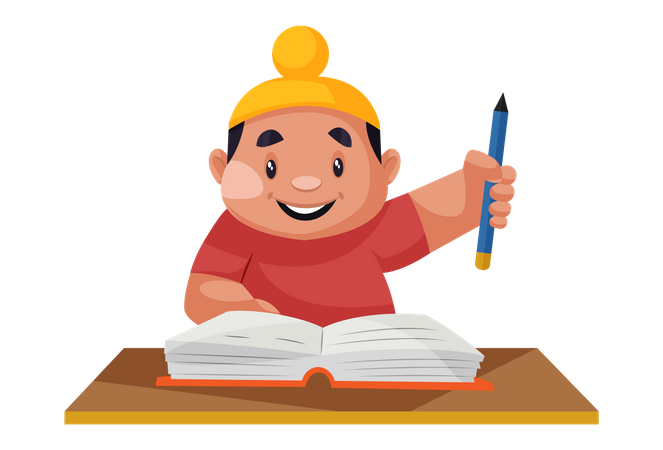 Punjabi boy holding a pencil in hand and studying a book Illustration