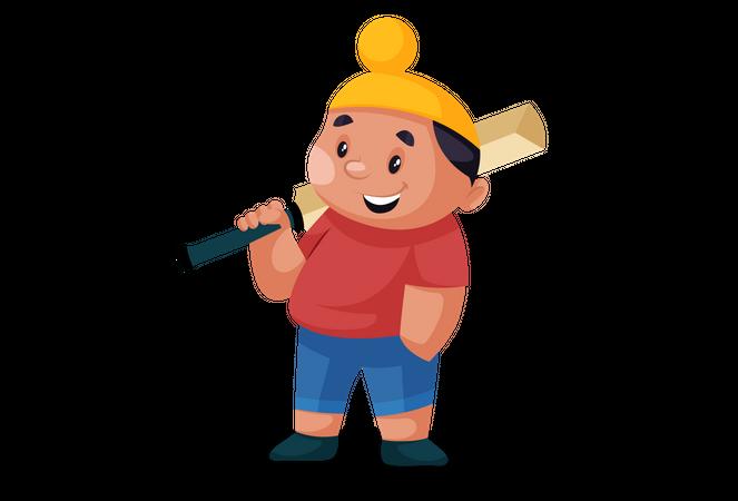 Punjabi boy is holding a cricket bat on his shoulder Illustration