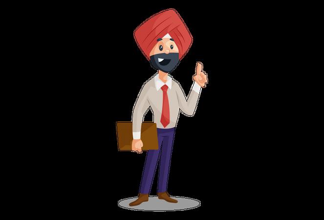 Punjabi businessman holding a file in hand Illustration