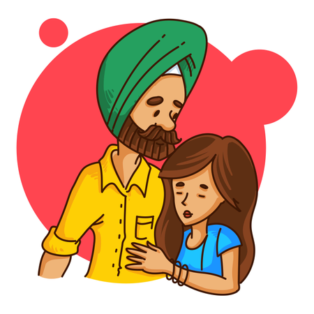Punjabi couple Illustration