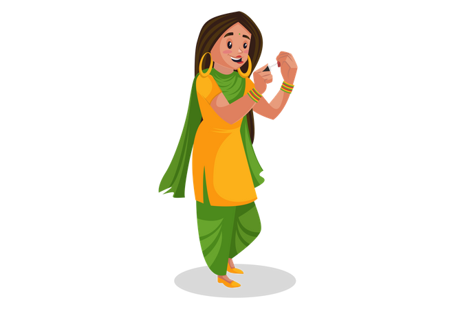 Punjabi girl applying nail paint Illustration