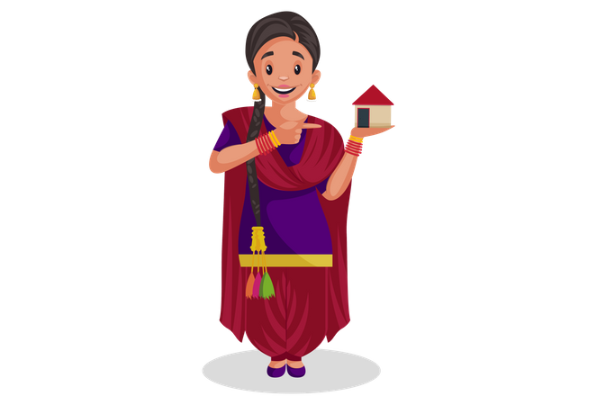 Punjabi girl is showing small house Illustration