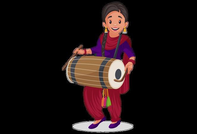 Punjabi girl playing drum Illustration