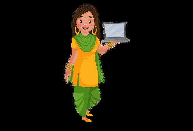 Punjabi girl showing a laptop for advertisement Illustration