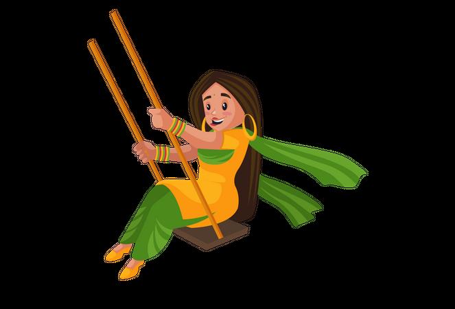 Punjabi girl swinging on the swing Illustration