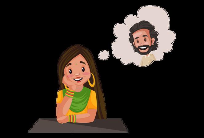 Punjabi girl thinking about a boy Illustration