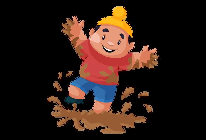 Punjabi kid playing in the mud Illustration