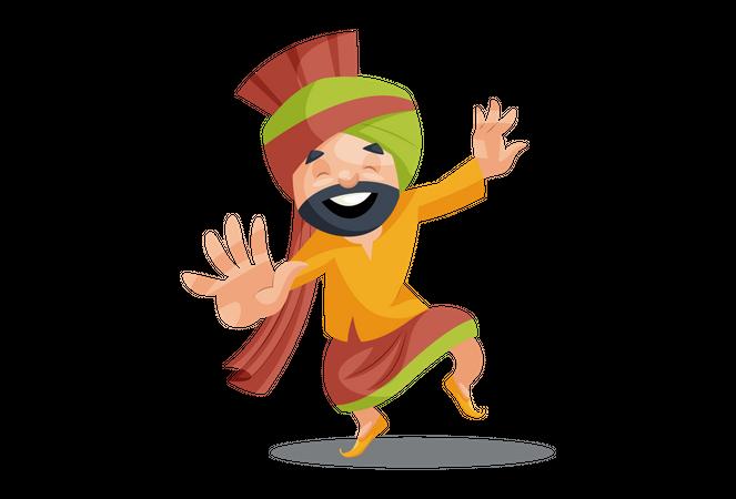 Punjabi man dancing Illustration