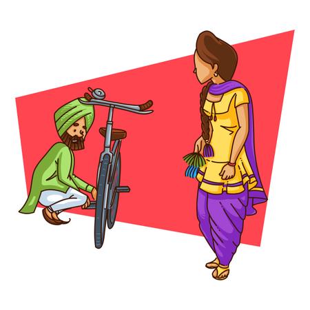 Punjabi man flirting with punjabi girl in village while repairing his cycle Illustration