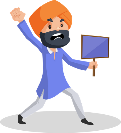 Punjabi man is angry and holding sign board in hand and shouting Illustration