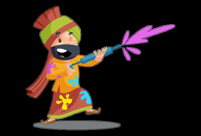 Punjabi man is celebrating holi Illustration