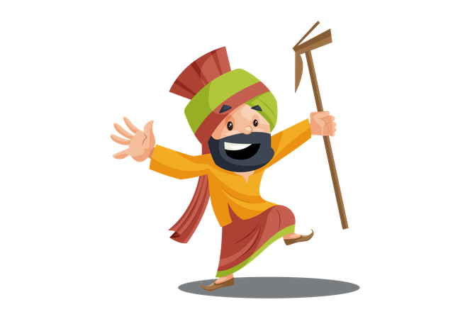 Punjabi man is dancing Illustration