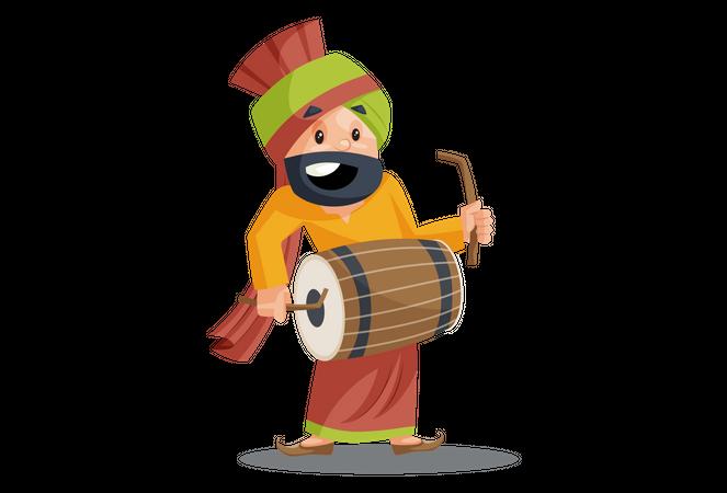 Punjabi man is playing dhol Illustration