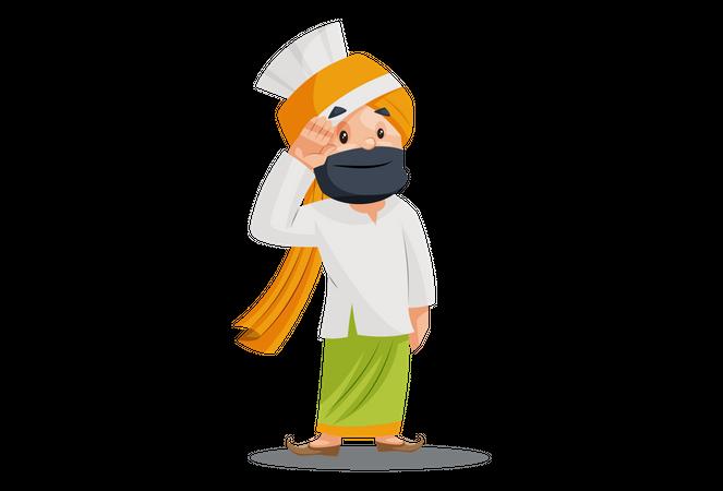 Punjabi man is saluting Illustration