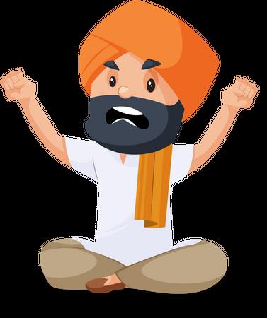 Punjabi man sitting in anger Illustration