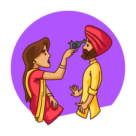 Punjabi sardar couple Illustration