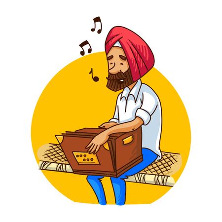 Punjabi sardar playing harmonium Illustration