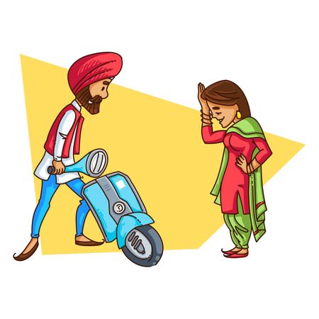 Punjabi sardar repairing his scooter while traveling with his wife Illustration