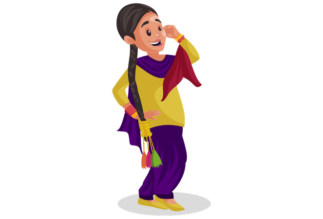 Punjabi woman dancing Illustration