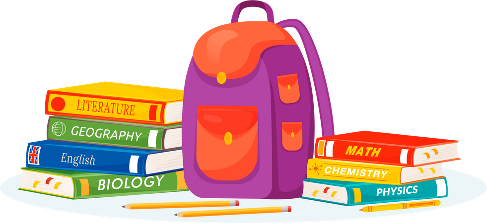 Pupil rucksack and textbooks Illustration