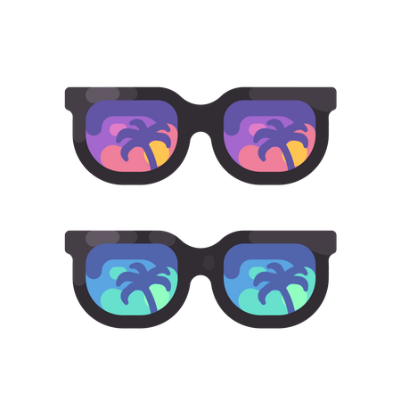 Purple and blue sunglasses with palm trees reflection Illustration