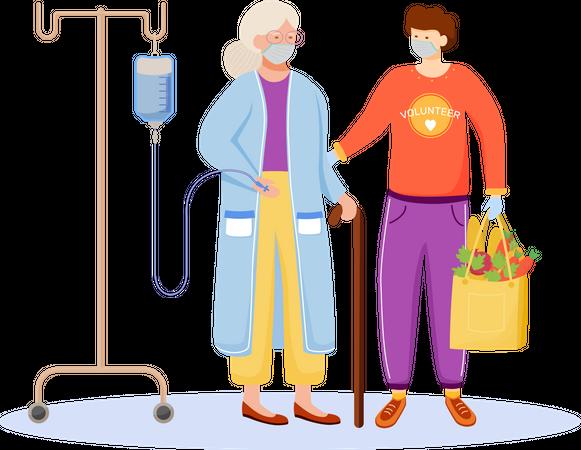Quarantine aid for elderly people Illustration