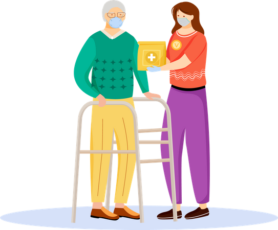 Quarantine help for senior people Illustration